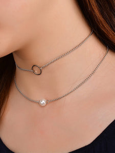 Silver Chain With Faux Pearl 2pcs Choker