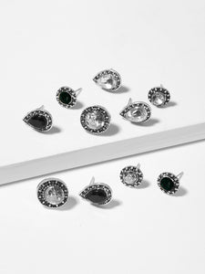5 Pairs Grey And Black Gemstone Water-drop Stud Earrings Set