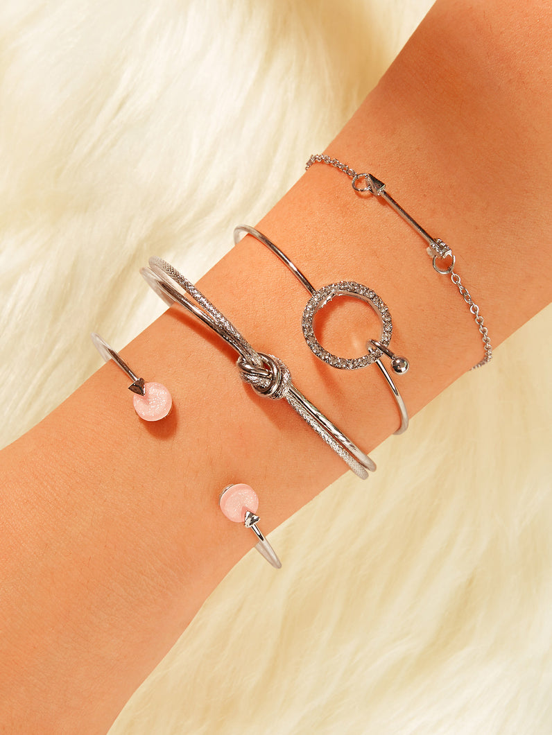 Grey 4pcs Sword & Rhinestone Engraved Metal Ring Cuff Bracelet