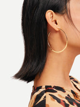 Load image into Gallery viewer, Golden 1pair Plain Oversize Metal Hoop Earrings