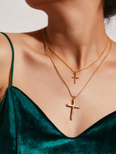 Load image into Gallery viewer, 2pcs Golden Cross Pendant Casual Chain Necklace