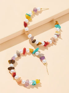 Multicolored Gem Gravel Hoop With Faux Pearl 1 Pair Earrings