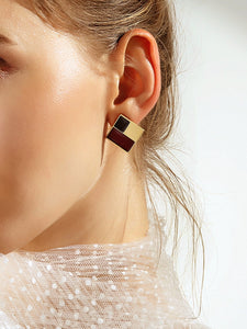 Square Maroon And Black Color-Block 1 Pair Stud Earrings