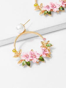 Multicolored Flower With Pearl Golden Hoop 1 Pair Drop Earrings
