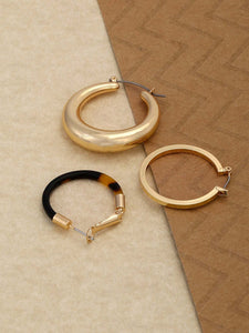 Golden Triple Metal Set Tortoise Hoop Earrings
