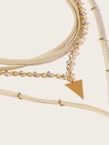 Golden 1pc Triangle Detail Metal Layered Lariats Necklace