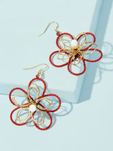 Load image into Gallery viewer, Red Faux Pearl Decor 1pair Flower Shaped Gold Drop Dangle Earrings