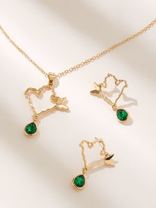Butterfly Shaped Green Waterdrop Charm 3pcs Golden Pendant Necklace & Drop Earring