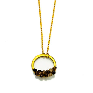 Vermeil Halo With Smokey Topaz Stones Gold Brushed Necklace