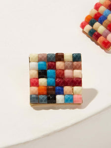 Square Multicolored Color-Block 1 Pair Stud Earrings