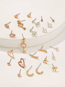 Golden Key & Heart Gemstone With Pearls 12 Pairs Stud Earrings