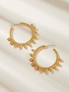 Golden 1pair Rhinestone Decor Textured Metal Cut Hoop Earrings