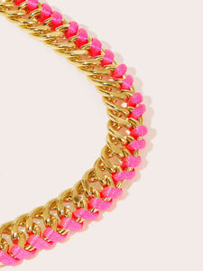 1pc Golden And Pink Woven String & Metal Bracelet