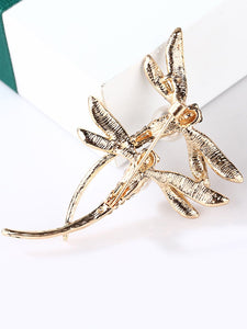 Golden Double Dragonfly With Pearls Design Brooch