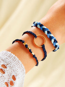 Multicolored Braided String Ring Decor 3pcs Bracelet