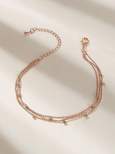 Golden 1pc Rhinestone Pendant Chain Anklet