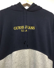 Vintage GUESS Embroidery Hoodie in Dark Navy