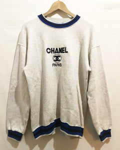 Vintage Bootleg Embroidered Chanel Sweatshirt in Grey/Blue Rare