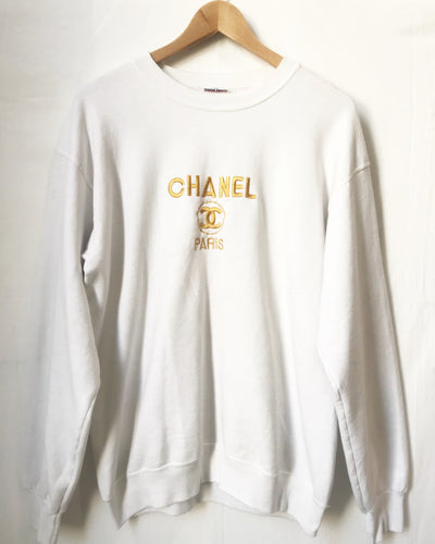 Vintage Bootleg Embroidered Chanel Sweatshirt in White