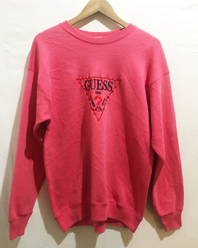 Vintage GUESS Embroidery Sweatshirt in Light Pink