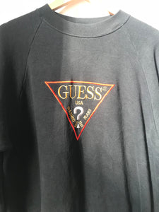 Vintage GUESS Embroidery Sweatshirt in Black