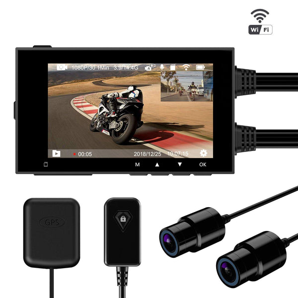 "Motorcycle Dash Camera Dual 1080P  2.7"" DVR Wi-Fi & GPS Support 256Gb TF card Motowolf M3 / M6"