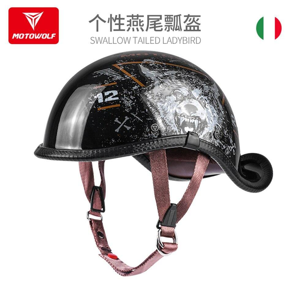 MOTOWOLF Universal Electric-Bike/Motorcycle Helmet Riding Half Helmet Retro Dovetail Helmet Summer Unisex