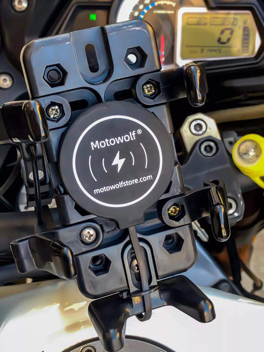 Motowolf R1 Motorcycle Detached 10W Charge Phone Wireless Charger Universal for RAM Motobike Mount