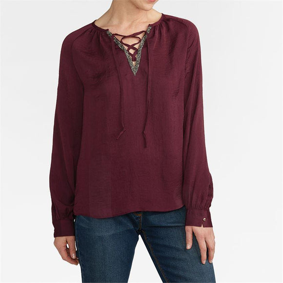 Veda Beaded Tie Neck Blouse Tawny Port