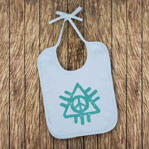 Peace Baby Bib - Blue