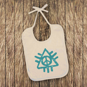 Peace Baby Bib - White