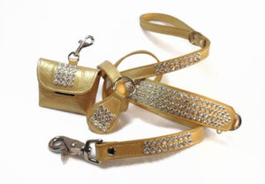 Gold leather metallic bling dog collar leash poop bag