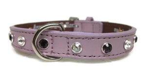 Brie Leather Dog Collar with Alternating Swarovski Crystals - Around The Collar NY