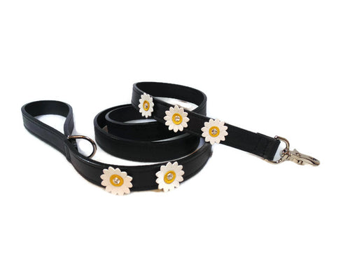 Maci Leather 5 Flower Leash with Swarovski Crystal on Flower - Around The Collar NY