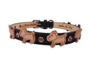 Malka Crystal Leather Dog Collar - Around The Collar NY
