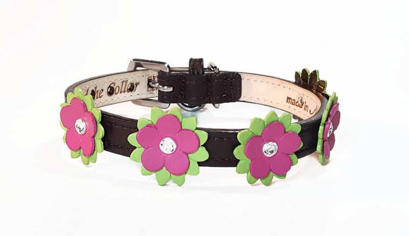 Penelope Leather Dog Collar with Swarovski Crystal on Flower - Around The Collar NY