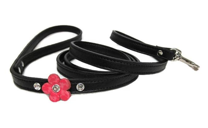 Ellie Leather Leash with Single Flower and Crystals - Around The Collar NY