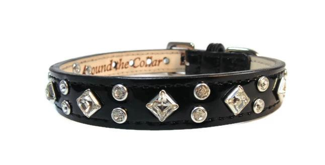 Lexus Leather Crystal Cluster Dog Collar - Around The Collar NY