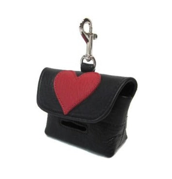 Leather Heart Poop Bag Holder - Around The Collar NY