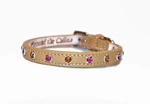 Brie Leather Collar with Alternating Swarovski Crystals