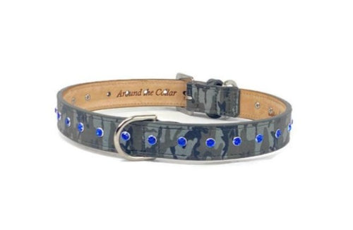 Brie Camouflage Leather Dog Collar with Crystals - Around The Collar NY