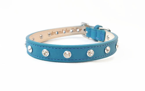 Brie Leather Collar with Single Row Clear  Swarovski Crystals - Around The Collar NY
