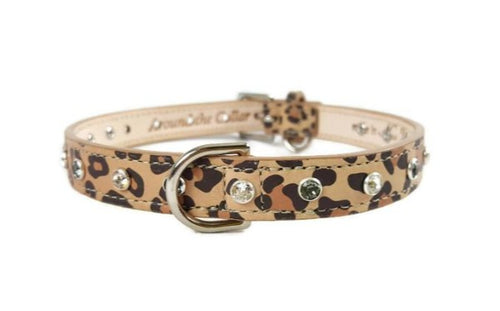 Brie Leopard Leather Collar - Around The Collar NY