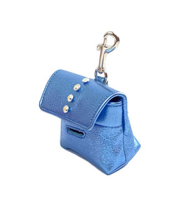 Brie Leather Poop Bag Holder with Single Row Swarovski Crystals - Around The Collar NY
