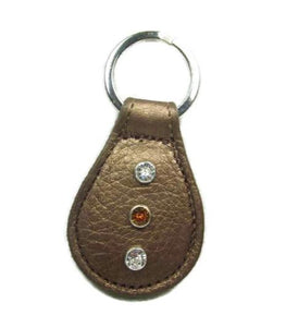 Brie Leather Key FOB with Swarovski Jewels - Around The Collar NY