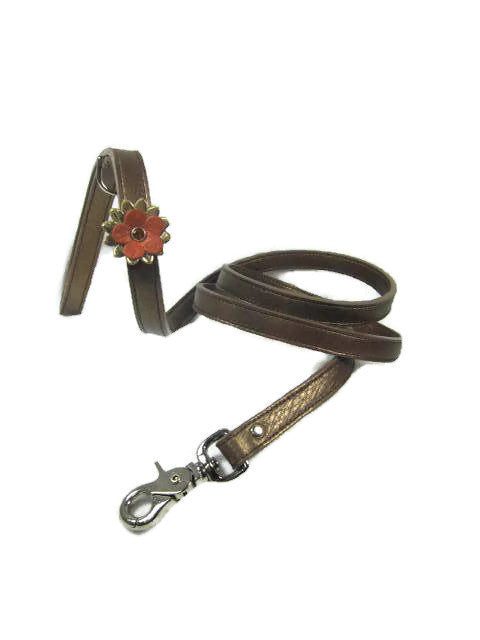 Penelope Single Leather Flower with Swarovski Crystal on Flower - Around The Collar NY
