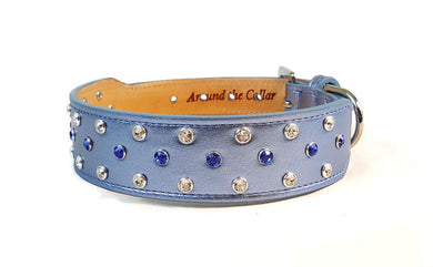 Callie Crystal Cluster Wider Leather Dog Collar - Around The Collar NY