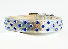 Load image into Gallery viewer, Callie Cluster of Crystals Leather Dog Collar - Around The Collar NY