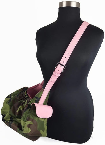 Camouflage Sling Carrier with Leather Strap & Pocket Flap - Around The Collar NY
