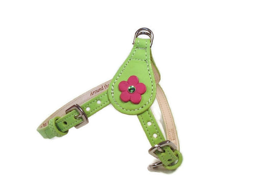Ellie Flower Leather Dog Step-In Harness - Around The Collar NY
